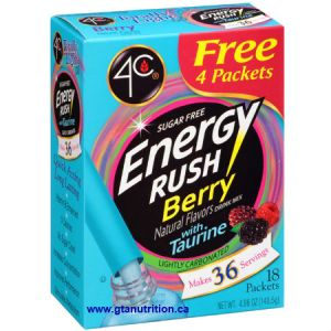 4C Totally Light 2 Go 4C Energy Rush Berry Stix 18 pk. Low Calories, Zero Carbs, Sugar Free, Low Sodium