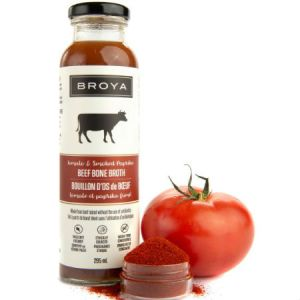 Broya Organic Tomato & Smoked Paprika Beef Bone Broth 295ml. Made with organic ingredients, Non-GMO, Gluten-Free, Paleo-Friendly, Not from concentrate