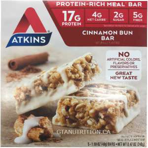 Atkins Protein Rich Meal Bars Cinnamon Bun | 5 Bars of 48g | Protein - Rich Meal Bar