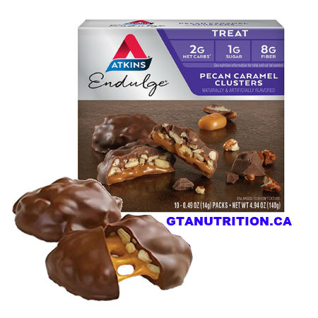 Atkins Endulge – Pecan Caramel Cluster Atkins Pecan Caramel Clusters are made with indulgent caramel and real roasted pecans wrapped in rich chocolate.