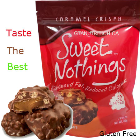 Sweet Nothings Caramel Crispy 84g | 30 Calories per one piece, 1g Fat Each! Only 30 calories and 3 net carbs per serving size! Great for all diets including Keto, Weight Watchers (1 SmartPoint per piece), South Beach, Atkins and Dr. Poon Diet! - Gluten Free, Kosher
