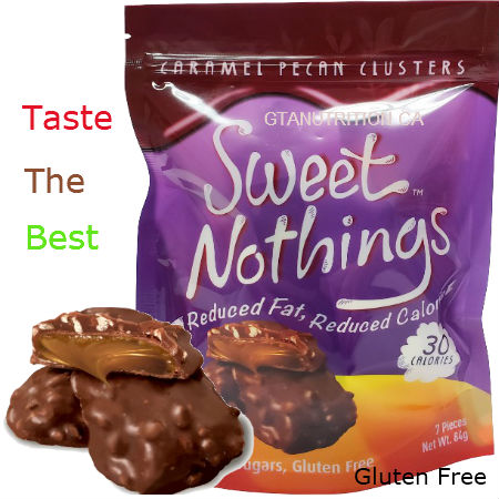 Sweet Nothings Caramel Pecan Clusters 84g | 30 Calories per one piece, 1g Fat Each! Only 30 calories and 3 net carbs per serving size! Great for all diets including Keto, Weight Watchers (1 SmartPoint per piece), South Beach, Atkins and Dr. Poon Diet! - Gluten Free, Kosher
