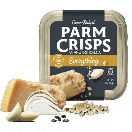 Kitchen Table Bakers Oven Baked ParmCrisps Everything 85g. Made From 100% Cheese. No Artificial Flavors, Colors or Preservatives. Keto Friendly