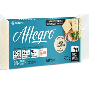 Agropur Allegro Cheese Herb & Spice 270g l Lactose free, Rich in protein, Source of calcium, New improve taste, 9% Milk fat, Quality milk...