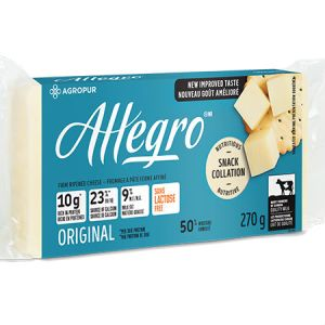 Agropur Allegro Cheese Original 270g l Lactose free, Rich in protein, Source of calcium, New improve taste, 9% Milk fat, Quality milk...