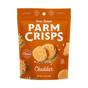 Oven Baked Parm Crisps Cheddar 50g. Made From 100% Cheese. No Artificial Flavors, Colors or Preservatives.