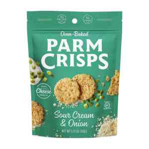 Oven Baked Parm Crisps Sour Cream & Onion 50g . Made From 100% Cheese. No Artificial Flavors, Colors or Preservatives.