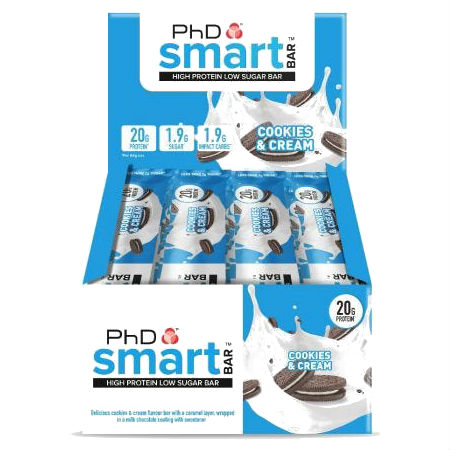 PhD Smart Bar - PhD Smart Bar - Cookies & Cream 64g . Smart Bar contains a super-soft protein centre that is coated in gooey caramel and protein crispies which truly delivers that satisfying crunch texture when you take a bite.