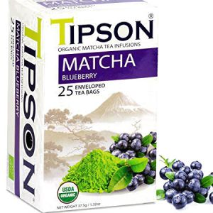 Tipson Organic Matcha Blueberry Tea Infusions, USDA Organic, Zero carb, Low calorie, Fat free, Sugar free, No cholesterol...
