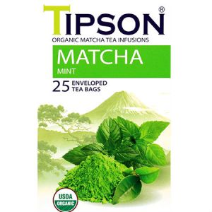 Tipson Organic Matcha Mint Tea Infusions, USDA Organic, Zero carb, Low calorie, Fat free, Sugar free, No cholesterol, Non GMO