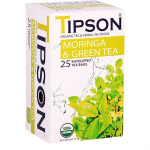 Tipson Organic Moringa & Green Tea and Herbal Infusions, USDA Organic, Zero carb, Low calorie, Fat free, Sugar free, No cholesterol...