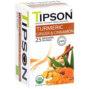 Tipson Organic Turmeric, Ginger and Cinnamon Tea Free Herbal Infusions, USDA Organic, Zero carb, Low calorie, Fat free, Sugar free..