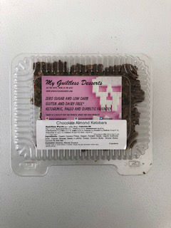 My Guiltless Desserts Chocolate Almond Ketobars 240g . Zero sugar and low carb. Gluten and dairy free. Ketogenic, paleo and diabetic friendly.