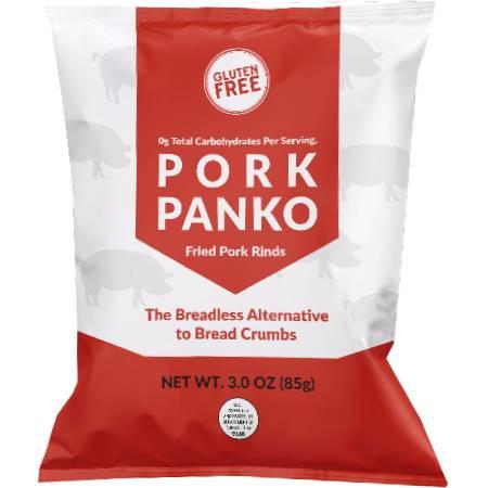 Bacon Heir Pork Panko Fried Pork Rinds 85g. The Breadless Alternative to Bread Crumbs. Gluten free, 0g net carb. High in protein..