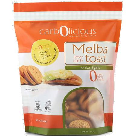Carbolicious Melba Low Carb Toast Onion & Garlic 4oz - All Natural, 1g net carb, High in protein. Sugar free, starch free and trans fat free....