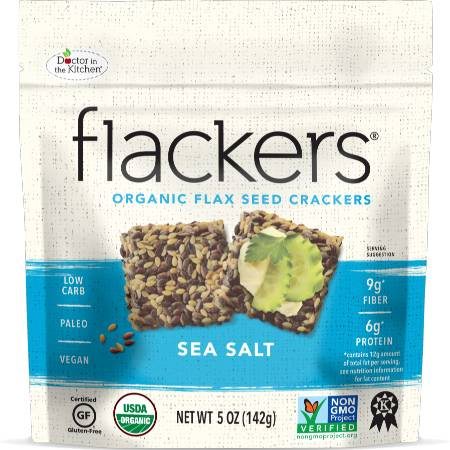 Doctor in the Kitchen Organic Flax Seed Flackers Sea Salt 142g. Organic, Non GMO, Paleo, Vegan, High in protein and fiber.