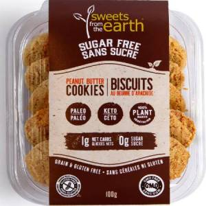 Sweets From The Earth Sugar Free Cookies Peanut Butter 100g . Keto friendly, low carb, High protein, gluten free, Non GMO, Paleo friendly...