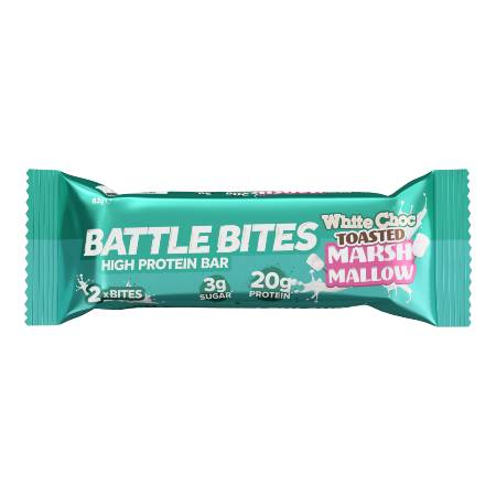Battle Bites Protein Bar White Chocolate Toasted Marshmallow. GMO FREE, No Hydrogenated Oil, Tastiest Low Carb Protein Bar In The Market - Made In Britain..