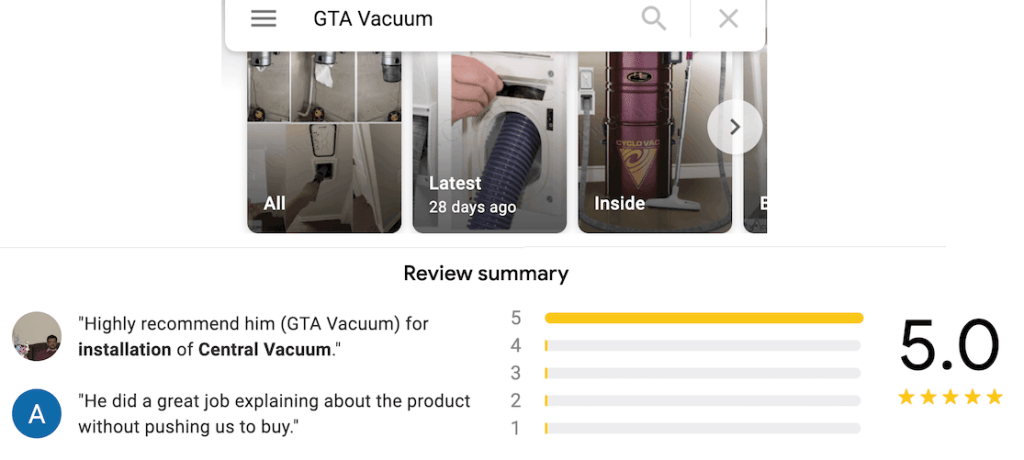 GTA Central Vacuum Reviews