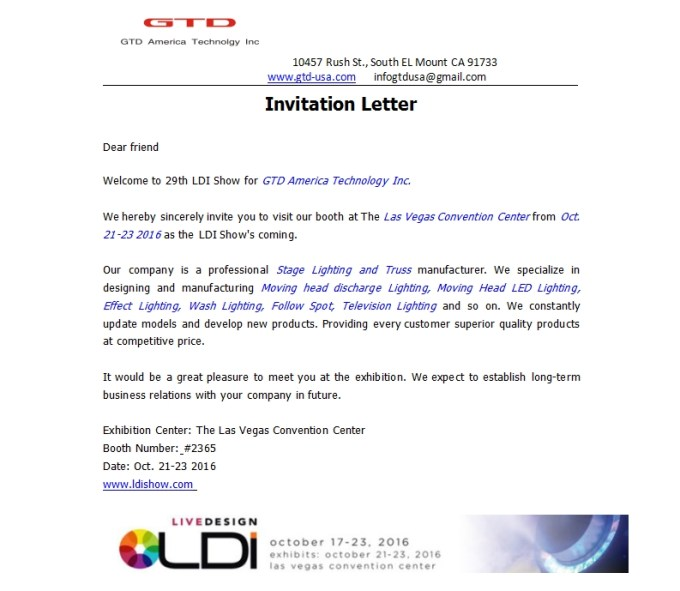 Exhibition invitation letter to customers view invite invitation letter from ldi show gtd america technology inc stopboris Choice Image