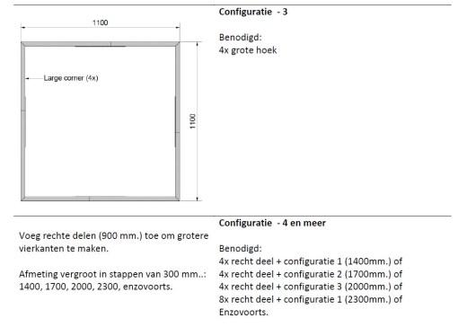 Straightcurve Box - Vierkant configuratie 3 en 4