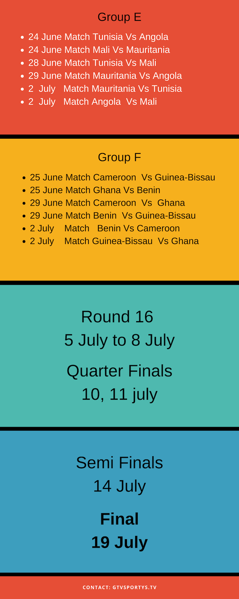 afcon schedule fixtures part2