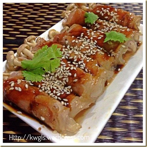 Grilled Mushroom Meat Rolls With Korean Bibigo Sauce and Italian Oregano Cream Sauce