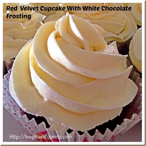 My First Attempt On Frosting My Cupcake–Red Velvet Cupcake With White Chocolate Frosting