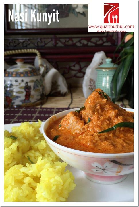 Auspicious Turmeric Glutinous Rice aka Nasi Kunyit Pulut (姜黄糯米饭)