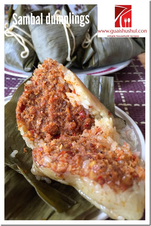 Sambal Haebeehiam Glutinous Rice Dumpling aka Chilli Dried Shrimp Floss Dumpling (辣虾米鬆粽子)