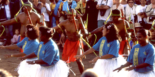 Palau delegation performance at the Festival of Pacific Arts in New Caledonia, 2000. Photo by Ron J. Castro.