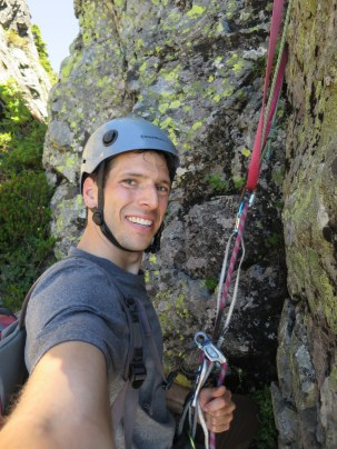 Feeling good at the top of the first rappel