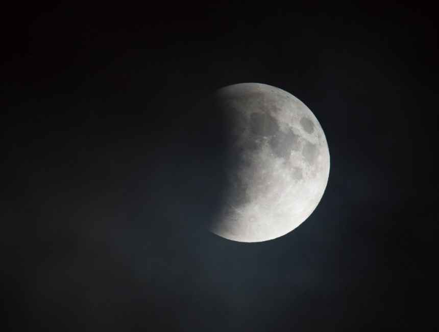 A perigee full moon, or supermoon, is seen during a total lunar eclipse on Sunday, September 27, 2015, in Washington, DC. The combination of a supermoon and total lunar eclipse last occurred in 1982 and will not happen again until 2033. Photo Credit: (NASA/Aubrey Gemignani)