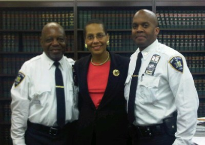 NYS Court Officer Timothy Cowart, Jr. sworn in as Secretary of the Guardians Association of the New York State Courts, Inc. by Justice Sheila Abdus-Salaam. Also pictured to the left, Guardians President Lt. Eugene Jordan.