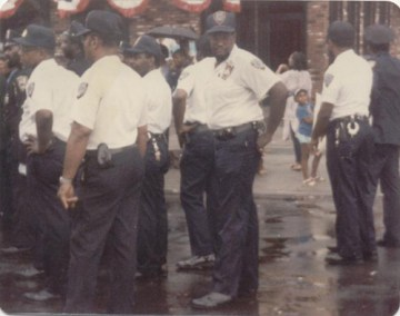 "Photo Taken in September, 1985.  SCO David A. Collins (now Lt. Collins) and his fellow New York State Court Officers waiting to march in the 16th Annual African American Day Parade in Harlem, a ""first"" for New York State Court Officers."