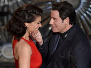 John Travolta Caressing Idina Menzel