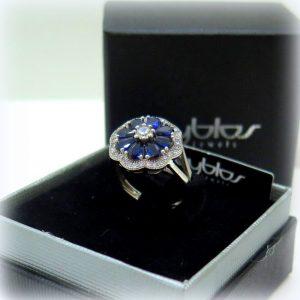 Anello gocce blu swarovski byblos in argento 925