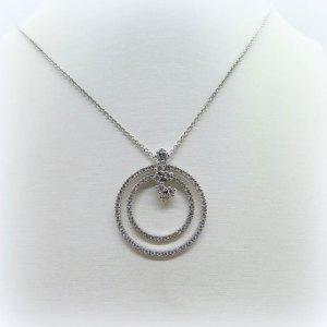 Collana ciondolo cerchi in argento e zirconi