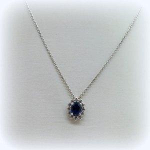 Collana ciondolo in argento 925 centro blu color zaffiro