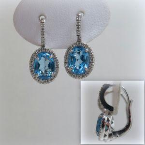 Orecchini in argento 925 artigianali con topazi azzurri