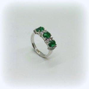 Anello classico in argento 925 pietre verde color smeraldo