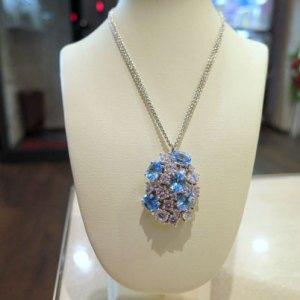 Collana ciondolo in argento 925 con topazi azzurri
