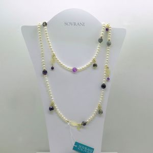 Collana lunga Sovrani Bijoux perle, calcedonio e cristalli