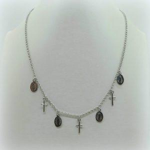 Collana rosario charms croce e madonnina in argento 925