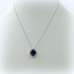 Collana artigianale in argento 925 centro blu Made in Italy