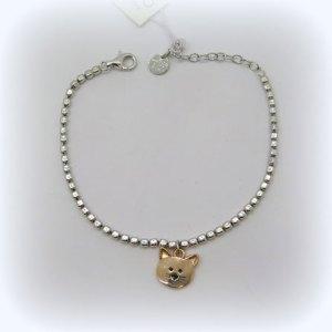 Bracciale gatto in argento 925 placcato oro rosè