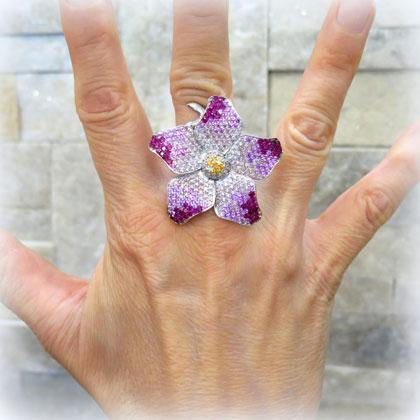 Anello fiore colore in argento 925