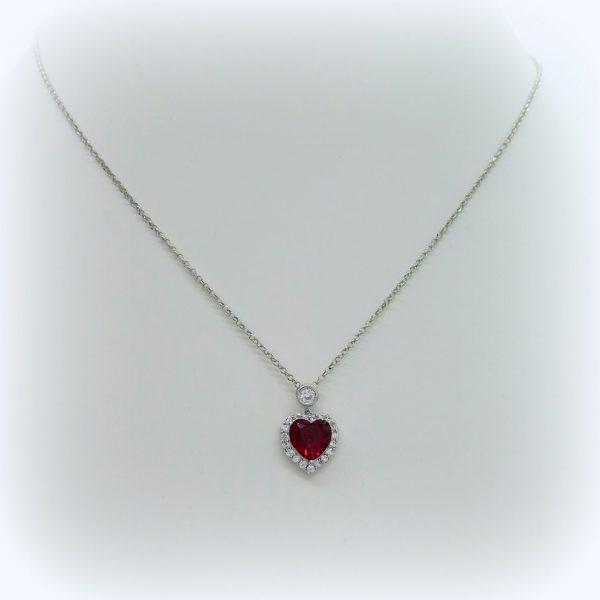 Collana cuore rosso in argento 925