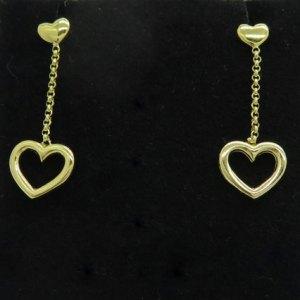 Orecchini cuore pendenti in argento 925 placcato oro giallo