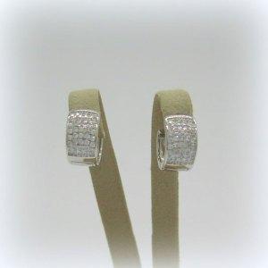 Orecchini pendenti piccolo cerchio zirconi in argento 925